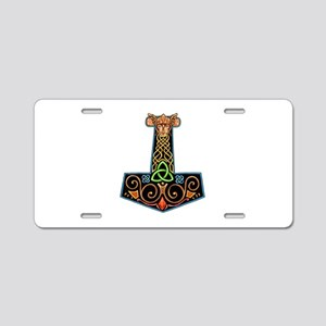 Hand Painted Thor's Hammer Aluminum License Plate