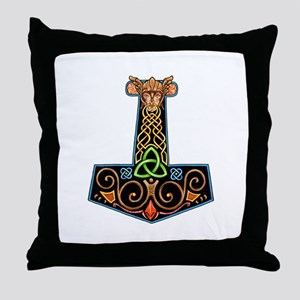 Hand Painted Thor's Hammer Throw Pillow