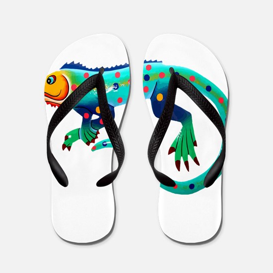 Turquoise Polka Dot Fiesta Lizard Flip Flops