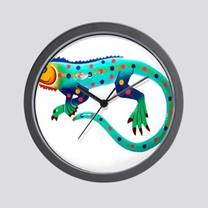 Turquoise Polka Dot Fiesta Lizard Wall Clock