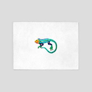 Turquoise Polka Dot Fiesta Lizard 5'x7'Area Rug