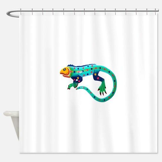 Turquoise Polka Dot Fiesta Lizard Shower Curtain