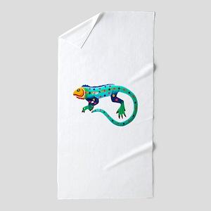 Turquoise Polka Dot Fiesta Lizard Beach Towel