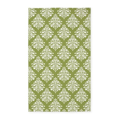 Damask Olive Green Area Rug By Mainstreethomewares2