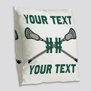 Personalized Green Burlap Throw Pillow