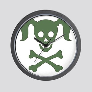 Skull3_GreenonWht Wall Clock