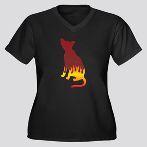 Havana Flames Women's Plus Size V-Neck Dark T-Shir