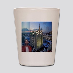 Jesus in front of salt lake city temple Shot Glass