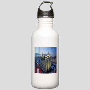 Jesus in front of salt lake city temple Water Bott