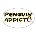 Penguin Addict Oval Sticker