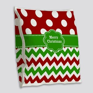 Red Green Christmas Burlap Throw Pillow