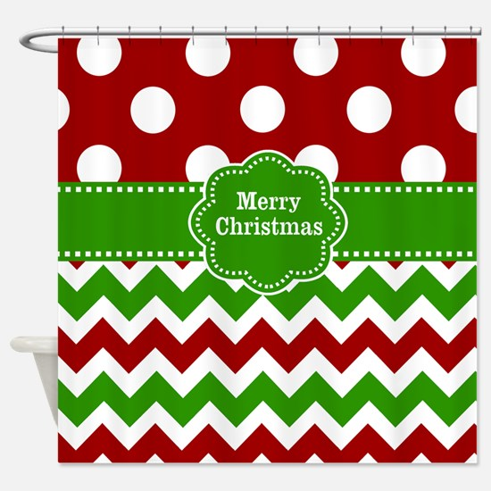 Red Green Christmas Shower Curtain