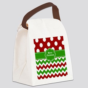 Red Green Christmas Canvas Lunch Bag