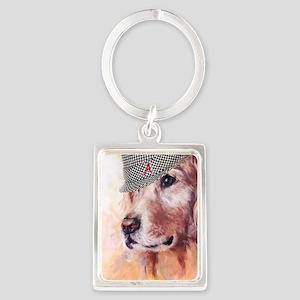 Crimson Canine Portrait Keychain