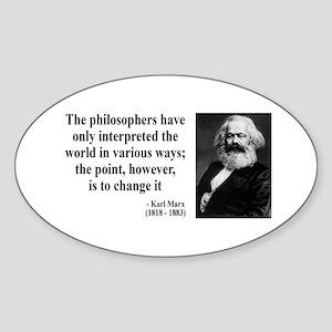 Karl Marx Quote 5 Oval Sticker