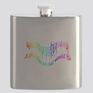 Without Music Life would be flat Humor Quote Flask