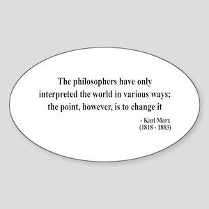 Karl Marx Text 5 Oval Sticker