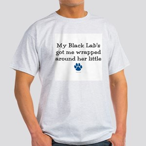 Wrapped Around Her Paw (Black Lab) Light T-Shirt
