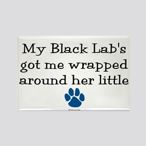 Wrapped Around Her Paw (Black Lab) Rectangle Magne