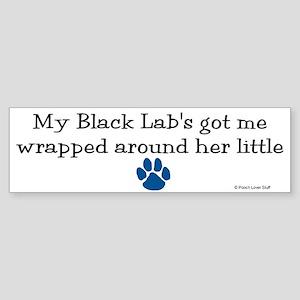 Wrapped Around Her Paw (Black Lab) Sticker (Bumper