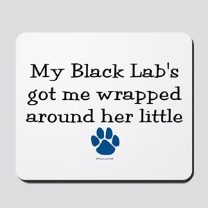 Wrapped Around Her Paw (Black Lab) Mousepad
