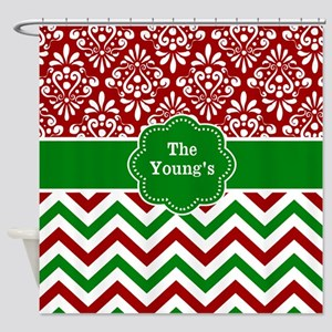 Red Green Damask Chevron Personalized Shower Curta