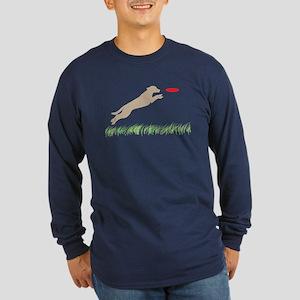 Labrador Dog Red Disc Long Sleeve Dark T-Shirt