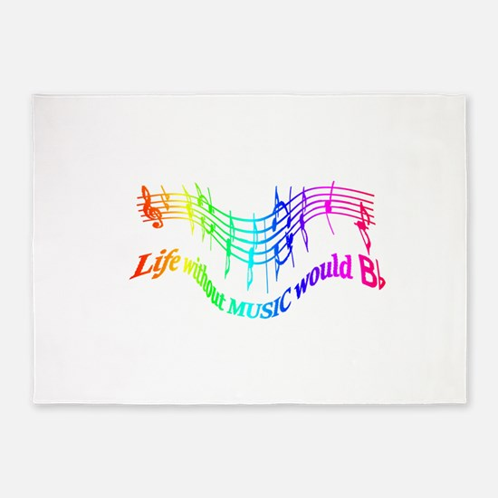Without Music Life would be flat Humor Quote 5'x7'