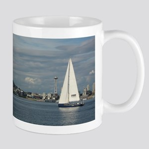 Sailboat and Seattle Space Needle Mugs