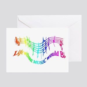 Life without music would b flat greeting cards cafepress without music life would be flat greeting cards m4hsunfo
