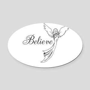 I believe in angels Oval Car Magnet