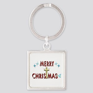 Merry Christmas with Cross Square Keychain
