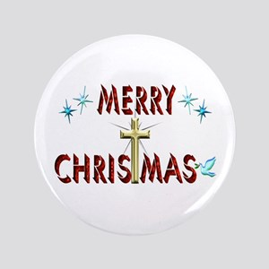 """Merry Christmas with Cross 3.5"""" Button"""
