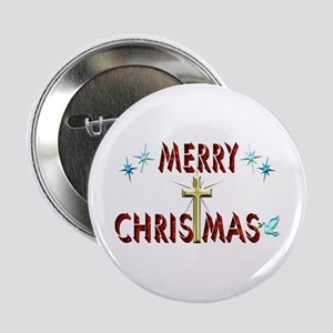 "Merry Christmas with Cross 2.25"" Button"