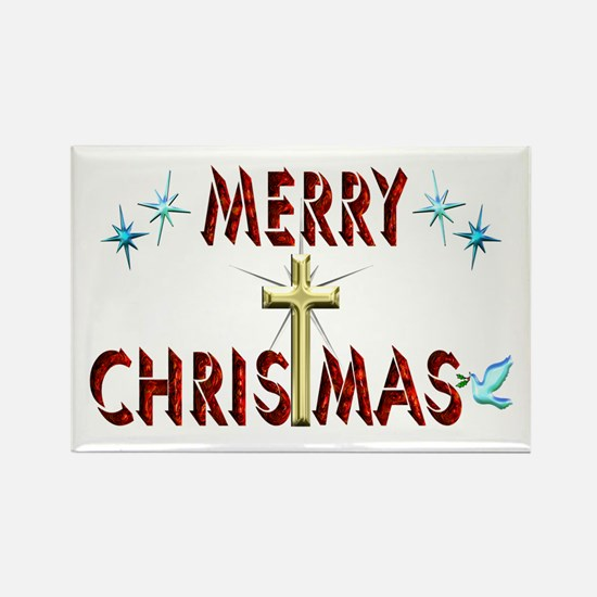 Merry Christmas with Cross Rectangle Magnet