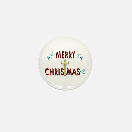 Merry Christmas with Cross Mini Button