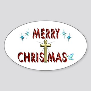 Merry Christmas with Cross Sticker (Oval)