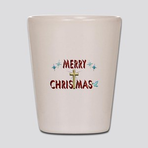 Merry Christmas with Cross Shot Glass