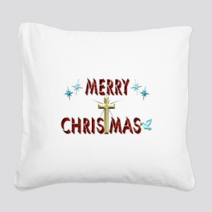 Merry Christmas with Cross Square Canvas Pillow