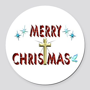 Merry Christmas with Cross Round Car Magnet