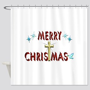 Merry Christmas with Cross Shower Curtain