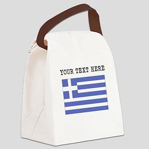 Custom Greece Flag Canvas Lunch Bag