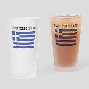Custom Greece Flag Drinking Glass