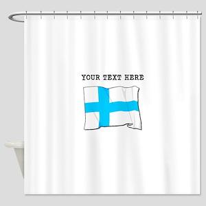 Custom Finland Flag Shower Curtain