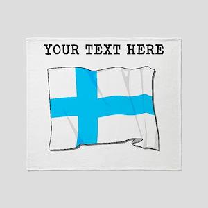 Custom Finland Flag Throw Blanket