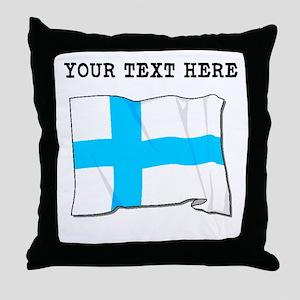 Custom Finland Flag Throw Pillow