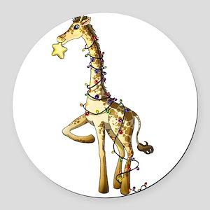 Shiny Giraffe Round Car Magnet
