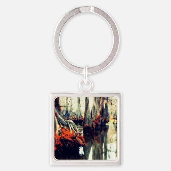 Funny Cypress trees Square Keychain