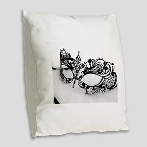 Queens Mask Burlap Throw Pillow