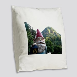 Mountain Gnome Burlap Throw Pillow